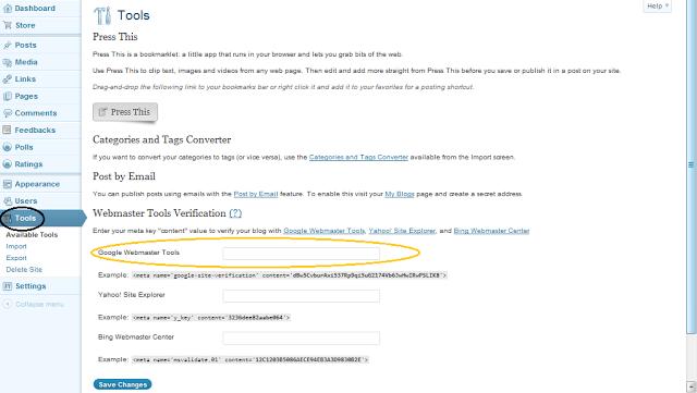 Cara Daftar Blog di Google Webmaster Tools - Menaruh Meta Tag Verifikasi di Blog WordPress.com