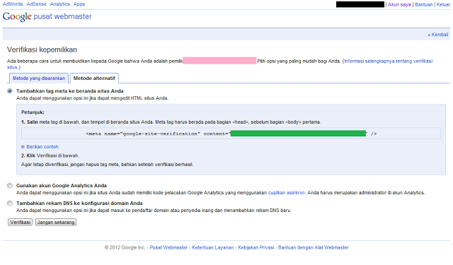 Cara Daftar Blog ke Google Webmaster Tools - Meta Tag Verifikasi